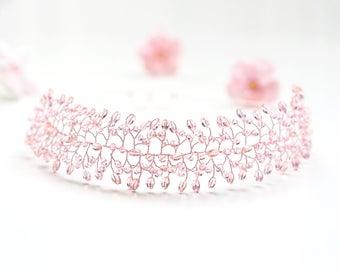 25 Peach crystal crown, Pink gold bridal tiara, Rose gold crystal hair jewelry, Wedding crown, Pink crystal tiara, Bridal hair accessories