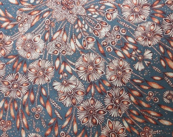 LIBERTY Of LONDON Tana Lawn Cotton Fabric  'Lady Zadie' Grey/Rust Lg Fat Quarter 18 X 26 in