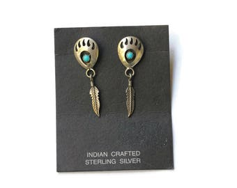 Vintage Navajo Bear Claw Earrings - Sterling Silver & Turquoise