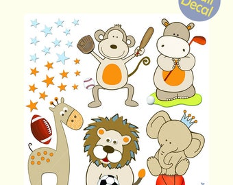 "Sports Animals Wall Decals for the Nursery Safari Animals Nursery Stickers Vinyl Restickable Football Soccer Basketball Golf Monkey 18""x18"""