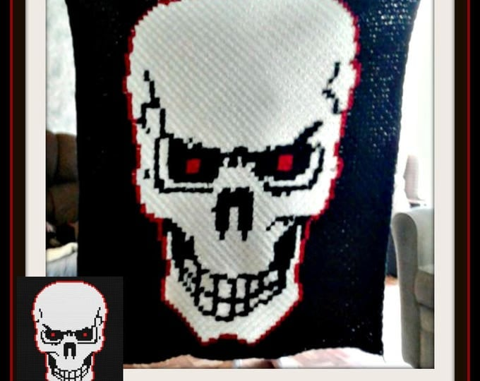 Featured listing image: Skull Red Eyes Afghan, C2C Graph, with Row by Row Word Chart