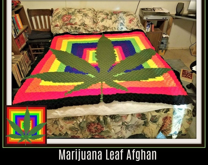 Featured listing image: Marijuana Leaf Afghan, C2C Graph, Written Word Chart