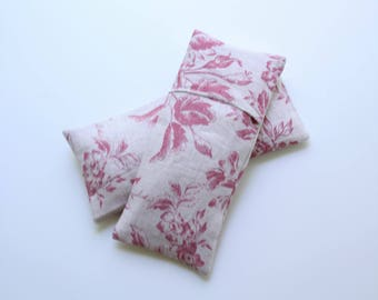 Eye Pillow Pink Cabbages & Roses Floral Linen with Insert and Washable Cover,  Flax/Lavender