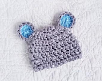 Newborn Bear Beanie, Crochet Baby Hat, Baby Bear Hat, Hat, Baby Boy Hat, Newborn Bear Hat, Infant Bear Hat, Baby Animal Hat, Blue Bear Hat
