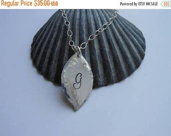 Christmas in July SALE Personalized Silver Leaf Necklace, Hammered Necklace, Modern Jewelry, Gift for Her, Sterling Silver Necklace, Artisan