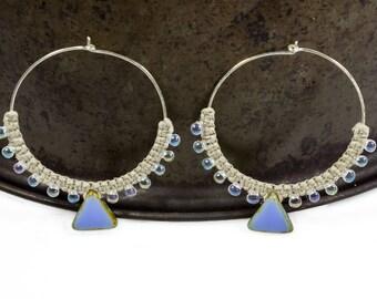 Ethnic Earrings, Tribal Jewelry, Sterling Silver Hoops, Large Hoop Earrings, Tribal Earrings, Beaded Hoops, Macrame Earrings, Boho Earrings