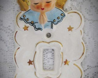 30% Off Clearance Sale 1950s Angel Light Switch Plate Cover-Ceramic Yona Original-Japan Baby Room Nursery-Angel Collector