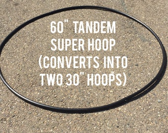 """Tandem Body Rocker 60"""" Super Hoop - naked or taped - Converts into 30"""" double hula hoops - sequin sparkle grip"""