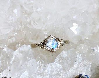 Rainbow Moonstone & Ethical Diamond Engagement Ring