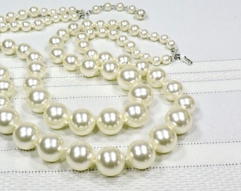 White Pearl Beaded Necklace, Double Strand, Extra Large Beads