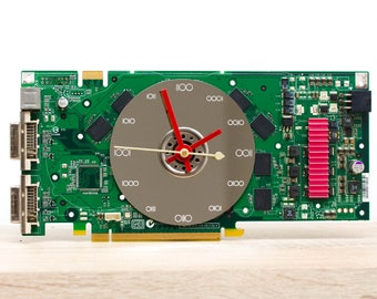 Desk clock - geeky office clock, Recycled video card clock, green circuit board c9107