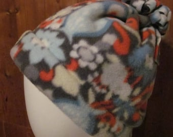 On Sale Owl/Floral Print Fleece Hat w/Fringed Puff