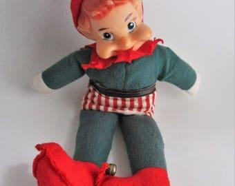 Vintage Elf Christmas Pixie Stuffed Body Striped Clothes 1950's