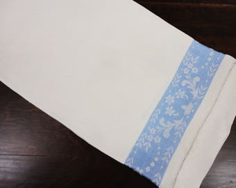 Damask Huck Towel in White and Blue  Hemstitched  18 x 31