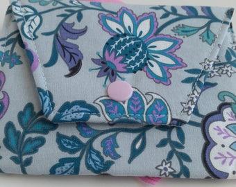 Sanitary Pad Holder- Purple flowers on grey