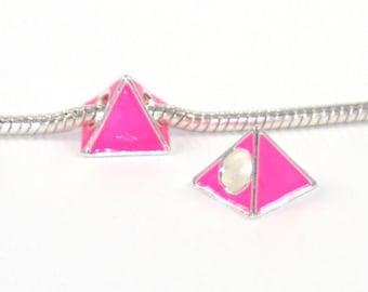 3 Beads - Pink Triangle Pyramid Neon Enamel Silver European Charm Bead E0741