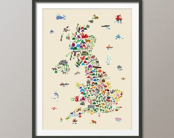 Great Britain Animal Map for children and kids, UK Map, Art Print (2847)