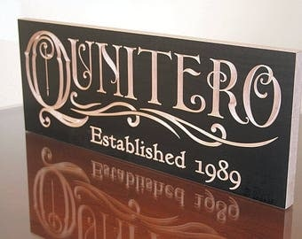 Last Name Sign, Custom Wedding Gift, Wedding Date Sign, Carved Wedding Sign, Carved Wooden Sign, Wedding Sign, Benchmark Signs Maple QQ