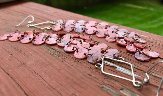 Light Pink Mussel Shell Duster Earrings