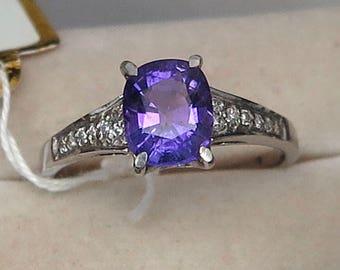 Ring 925 Sterling Natural Amethyst Purple