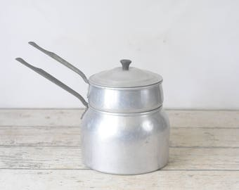 Vintage WEAREVER Aluminum Double Boiler Pot With Handles Kitchen Or Camping