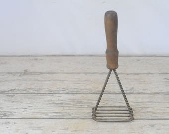 Vintage Potato Masher Vintage Wood Handle Twisted Wire Kitchen Tool