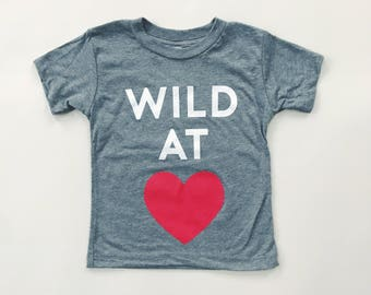 WILD AT HEART - Gray Tri-blend T-Shirt- Baby and Toddler