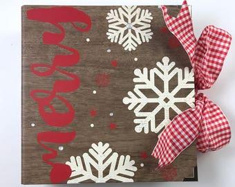 Christmas Scrapbook DIY Kit or Premade Mini Album Pre Cut with Instructions Holiday Santa December