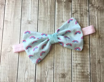 Rainbow Baby Blue and Pink Fabric Hair Bow Clip - You choose alligator clip or elastic band