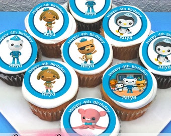 "Octonauts Edible Icing Cupcake Toppers - 2"" - PRE-CUT - Sheet of 15"