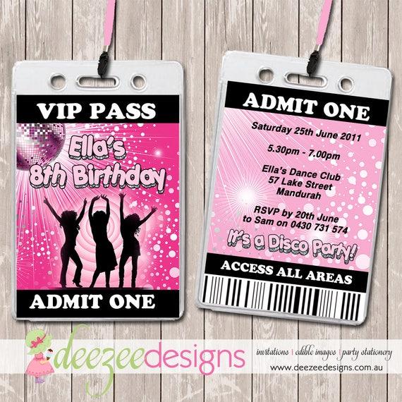 Disco dance vip lanyard birthday invitations x 10 bd083g by deezee il570xn filmwisefo