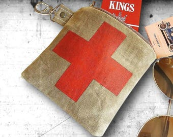 Waxed Canvas swiss cross in red Zippered Pouch Mini Dopp Kit First Aid Kit Travel Pouch Toiletry Bag for Men key chain coin wallet