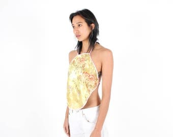 90s Chinese / Cheongsam Embroidered Blossom Gold Satin Oriental Halter Neck Backless Tie Up Crop Top