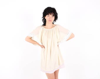 70s Cheesecloth Gauze Flutter Wing Sleeve Cream Peasant Blouse Top / Floaty Mini Dress