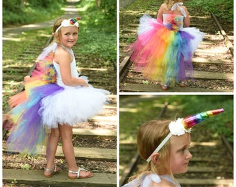 Bright Rainbow Unicorn Bustle Tutu Dress Girls Size 12 Months 2T 3 4 5 6 7 8 9 10 12 Kids Birthday Halloween Costume Colorful Pony Mane Horn