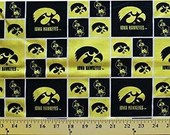 University of Iowa Cotton Fabric-Iowa Hawkeyes 100% Cotton Quilting Fabric-Sold by the Yard-Geometric Design