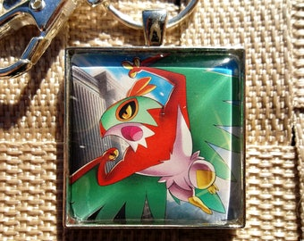 Hawlucha Glass pendant Charm made from Trading Cards