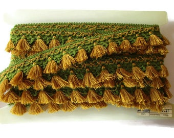 German Vintage Mustard & Green Rustic Fabric Border Trim, Ornamental Trimmings for Lampshades Curtains, Supply