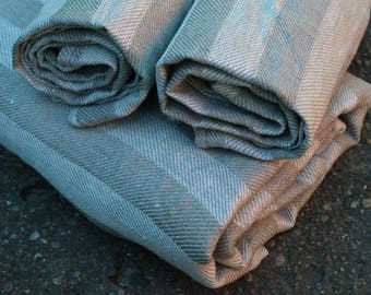 Set of 3 - One Linen Bath Towel and Two Hand Towels Natural Grey Stripped Sauna Towel Spa Towel Washed Vintage Look