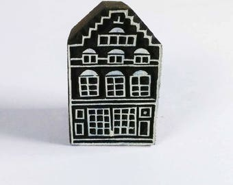 Scandinavian Printing Stamp-House Wooden Stamp-Fabric Paper Clay and Wall Stamping-Handcarved Wooden Stamp-Pottery Making-Scrapbooking Ideas
