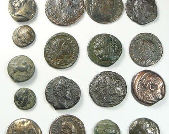 21 Ancient Greek and Roman coins , Authentic 1800-2003 years old, horse coins, Romulus Remus, Greek Gods, Roman Emperors (c26971)