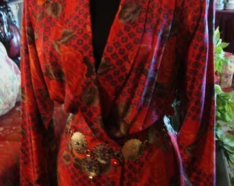 Vintage 1970s Boho Chic Red and Gray Dress With Concho Belt