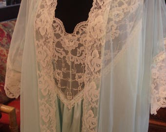 Vintage Pastel Blue and Lace Sheer Nightgown with Matching Robe