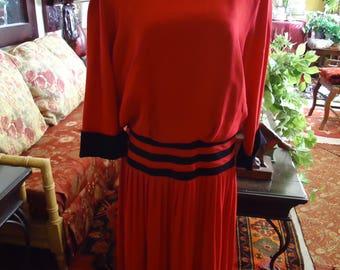 Vintage 1980's Red with Black Stripe Drop Waist Dress