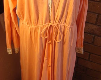 RESERVED Angie Vintage Orange Peach Long Sleeve Gown Robe