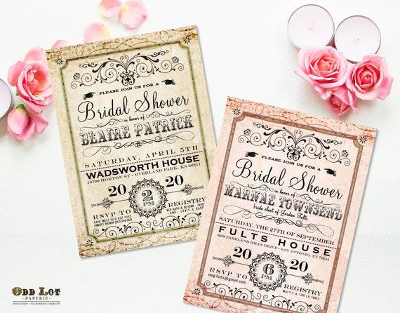 Fancy bridal shower invitation digital or printed romantic il570xn filmwisefo