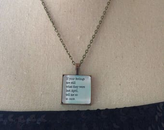 Handmade Jane Austen Jewelry, Glass covered pendant, Jane Austen Gifts, Jane Austen Pendants, Janeite Gifts, Mr Darcy Quote