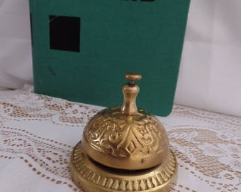 Victorian style vintage front desk bell, breakfast bell, call bell, gold tone, service bell, bed and breakfast