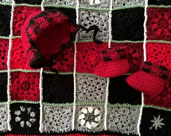 Lumberjack Blanket Set- Granny Squares- Made To Order- Red, Black, Grey- Crocheted Plaid- 30x33 Blanket- Matching Hat and Boots