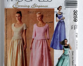Evening Elegance Tops and Skirts Sewing Dress Pattern Uncut FF McCalls 3259 Size 18 20 22 plus
